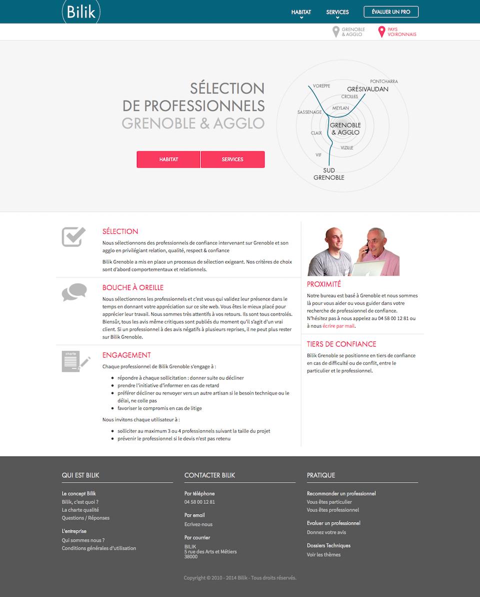 Site web : page d'accueil