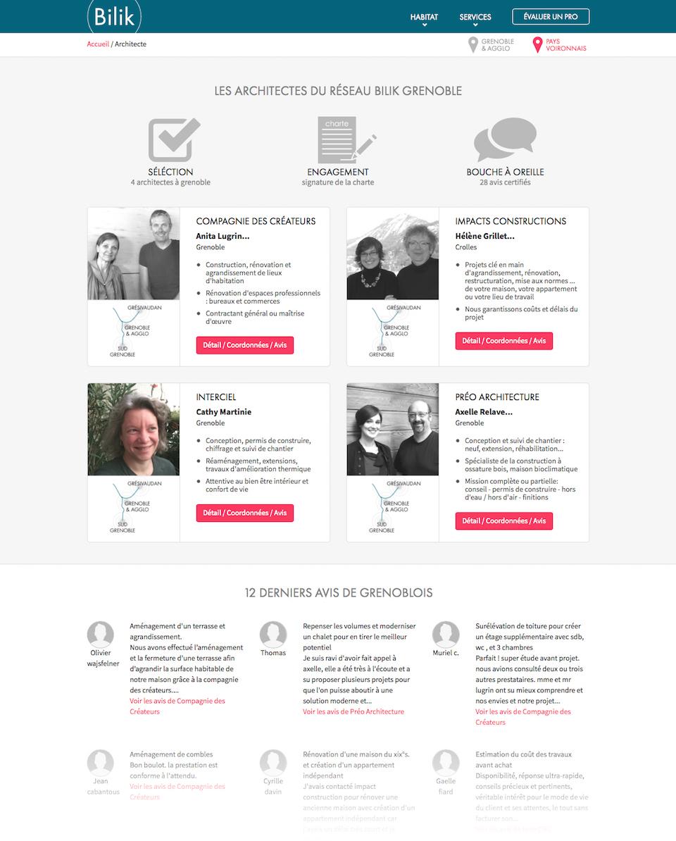 Site web : page métiers