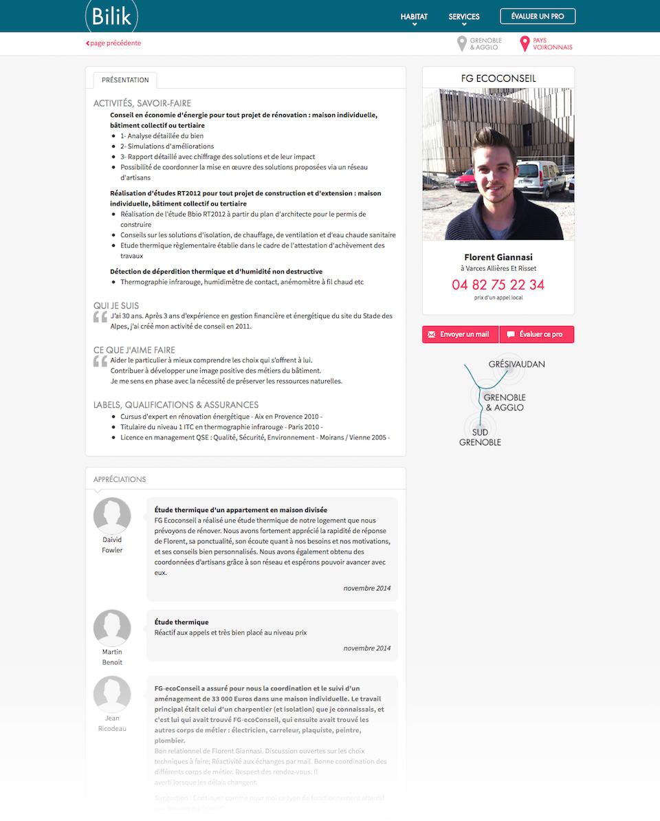 Site web : page pro